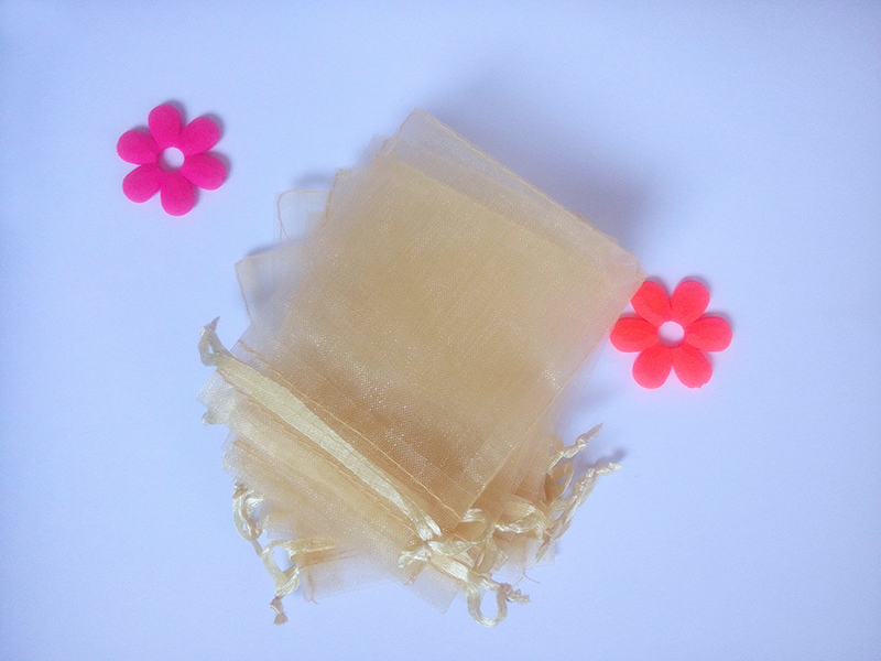 100pcs 10*15cm Gold Organza Gift Bag Jewelry Packaging Display Bags Drawstring Pouch For Bracelet/necklace Mini Yarn Bag