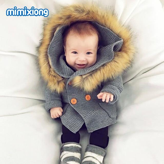 eadb82ce34bf Winter Warm Newborn Baby Sweater Fur Hood Detachable Grey Infant ...