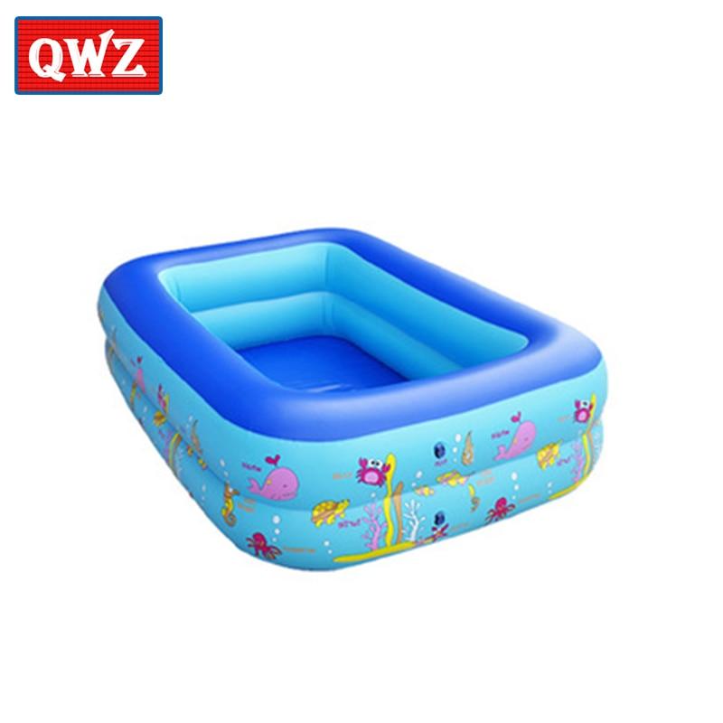 QWZ Baby Inflatable Ocean Ball Pool Swimming Pool Eco-friendly PVC Portable Children Bath Tub Kids Mini-playground 115X85X35cm