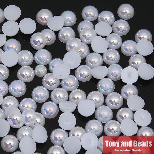 Free Shipping 6mm Acrylic Beads Pearl Imitation Half Round Flatback Bead Pick Color For Jewelry Making