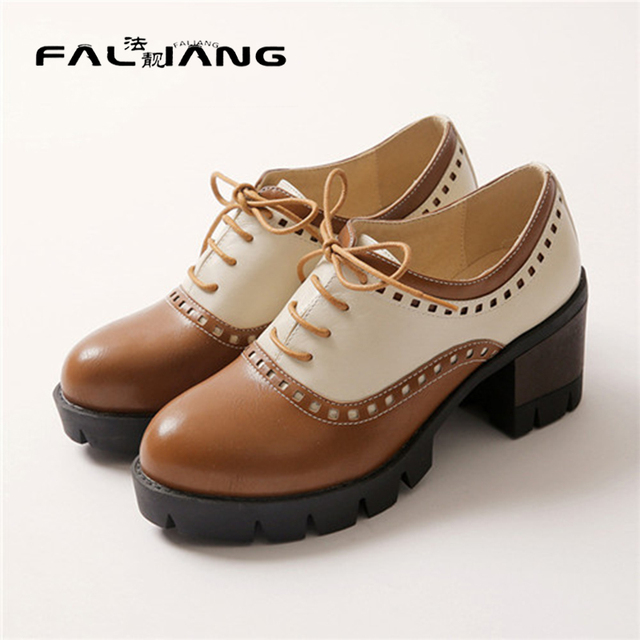 Free Shipping Retro Punk Tock Rome Ladies Office Round Toe Mixed Color British Brogue Shoes Woman Lace Up Mid Heel Pump Platform