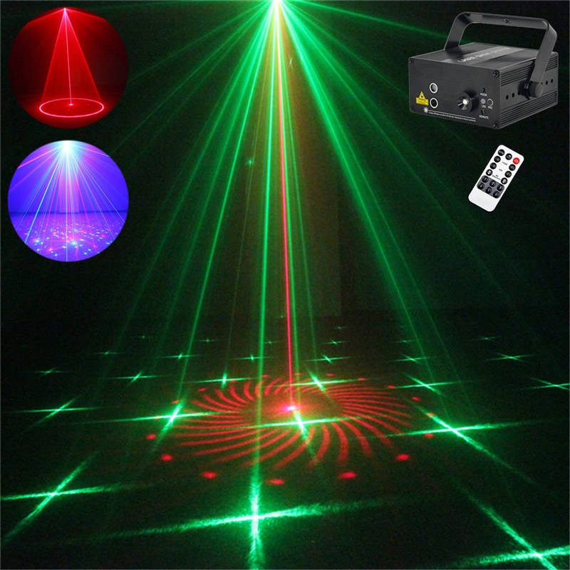 AUCD Mini Remote 24 Patterns RG Red Green Laser Effect Projector 3W Blue LED Light DJ Home Party Wedding Stage Lighting Z24RG led laser stage lighting 24 or 96 patterns rg mini red green laser projector 3w blue light effect show for dj disco party lights