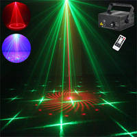 Mini IR Remote 24 Patterns RG Red Green Laser Crossover Effect Projector 3W Blue LED Light