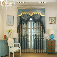 Anvige European Valance Luxury Velvet Embroidered Blackout Curtain For Living Room High Quality Window Curtain Kitchen
