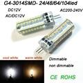 G4 G9 LED Bulb SMD 3014 LED DC12V LED lamp Dimmable 24 72led Corn Light  AC220V 360 Degree warm/cool white Replace Halogen Lamp