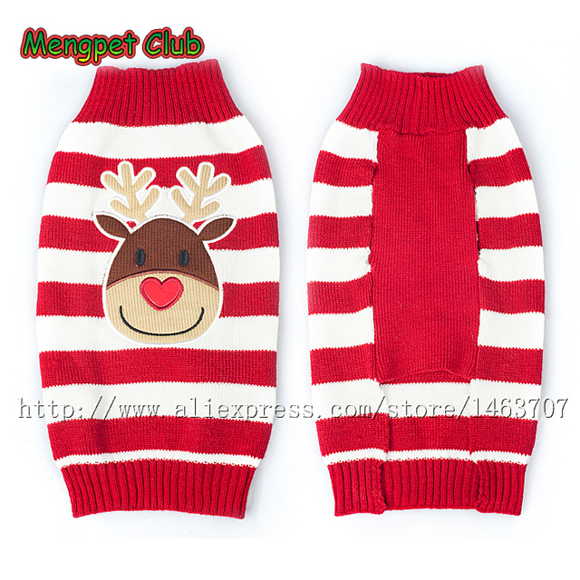 pet christmas sweater reindeer xmas puppy dog cat winter clothes striped knit jumper chihuahua dachshunds pitbull