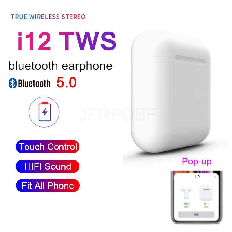 I12 TWS Blutooth 5.0 Earphones Touch Mini Wireless Earbud Stereo Auriculares Fone Headset Celular Binaural Call Headphones Elari
