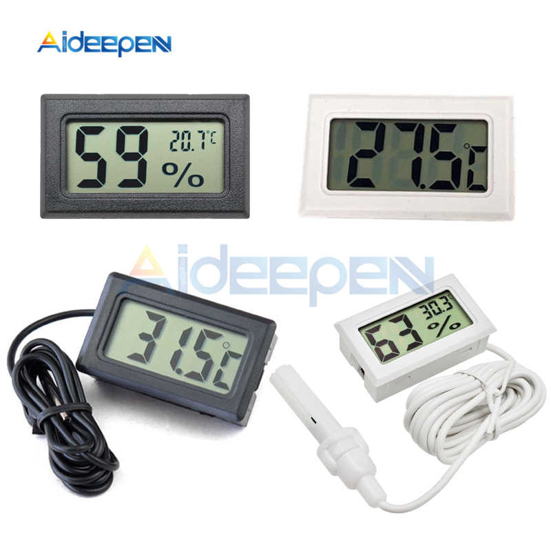 Mini LCD Digital Thermometer Hygrometer -50~110 degree Temperature Sensor For Indoor Outdoor Freezer Fridge 1M 1.5M 2M Probe