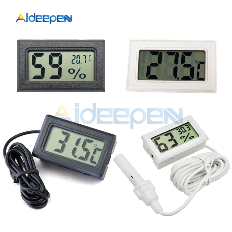 Mini LCD Digital Thermometer Hygrometer -50~110 degree Temperature Sensor For Indoor Outdoor Freezer Fridge 1M 1.5M 2M Probe