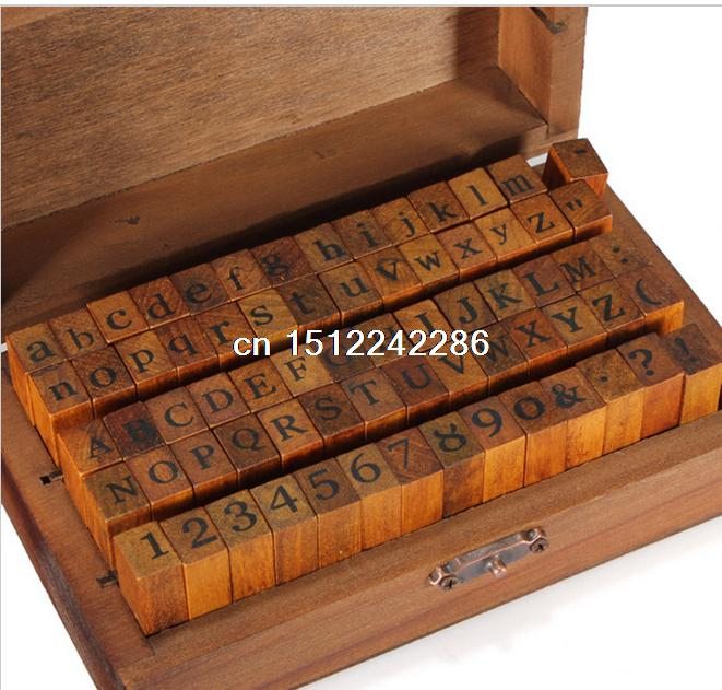 70pcsset vintage diy multi purpose regular script number lowercase alphabet letter decoration wood rubber stamps set wooden box
