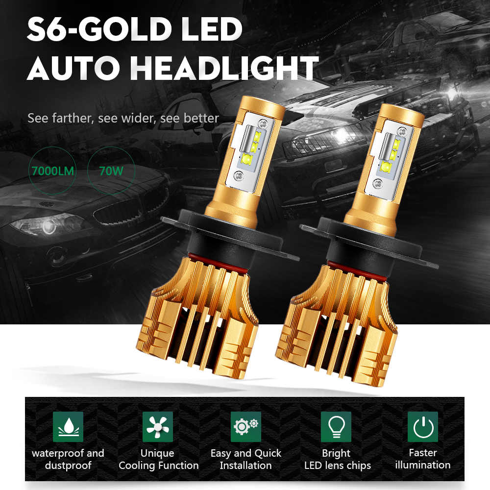 Partol H4 H7 H11 سيارة مصابيح ليد لمصابيح السيارة الأمامية 70 W 7000LM SMD LED رقائق 9005 9006 السيارات كشافات LED الضباب أضواء 6500 K 12 V 24 V