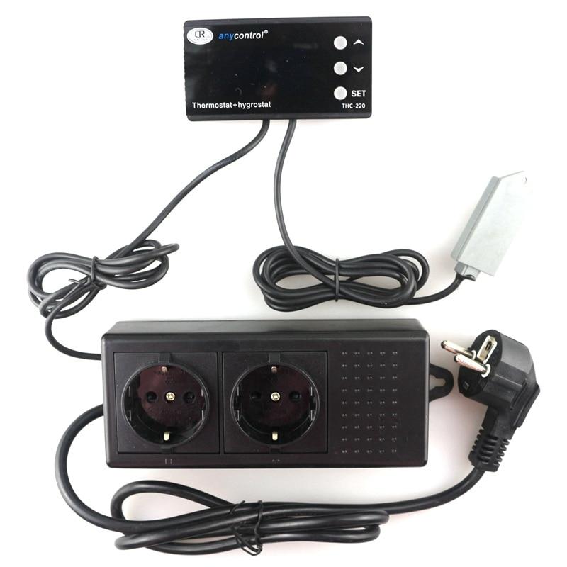 220 V Ac Eu/uk/us Digitale Thermostaat Hygromstat Thc-220 Temperatuur Vochtigheid Controller Warmte Cool Output Humi Dehumi Uitgang