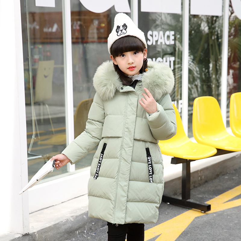 4-8 Years Old Girl Winter Thick Long Down Pike Coat Childrens Warm Jacket Hooded Coat Large Fur Collar Casual Style 5 Colors new women winter down cotton long style jacket fashion solid color hooded fur collar thick plus size casual slim coat okxgnz 910