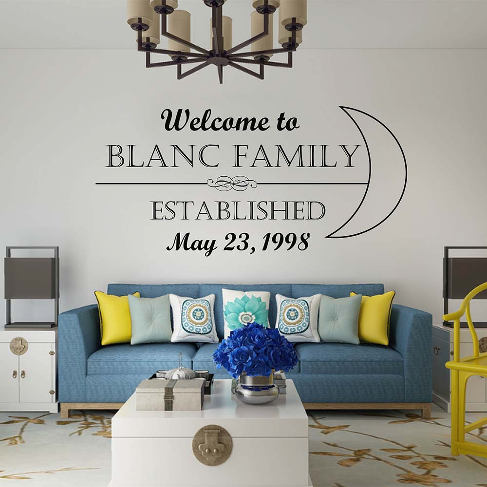 Family Name & Welcome Decal Welcome Family Custom Name Wall Sticker Family Vinyl Wall Sticker for Living Room Kitchen 8117C