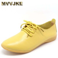 MVVJKE Genuine Leather Oxford Shoes For Women Round Toe Lace Up Casual Shoes Spring And Autumn