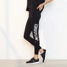 Однотонные женские эластичные лосины с надписью, спортивные Леггинсы для фитнеса, леггинсы с высокой талией, компрессионные быстросохнущие штаны
