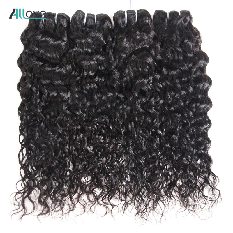 Allove Indian Water Wave Human Hair Bundles 8-28 Natural Black 1/3/4 Pieces Non-Remy Hair Weave Bundles Double Machine Weft