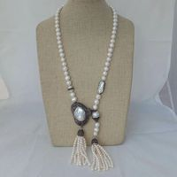 36'' White Pearl Necklace Big White Keshi Pearl Pendant