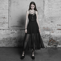 PUNK RAVE Women's Gothic Sexy Strapless Dress Fashion Lace Chiffon Deep V neck Hollow Out Backless Dress Gothic Long Dress