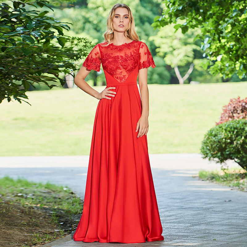 Tanpell Lace Prom Dresses Red Short Sleeves Floor Length A Line Gown