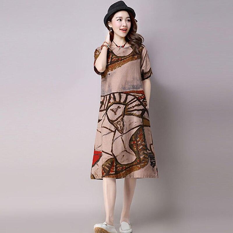 1b6a46a991 Lniana sukienka zakupy Online indie letnia sukienka kobiety 2017 Hippie  Boho Plus rozmiar Vestidos ukraina kwiatowy Mori dziewczyna w stylu Vintage  długi w ...