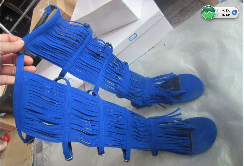Aliexpress.com : Buy 2015 Hot Sale Blue Suede Fringe Boots Open ...