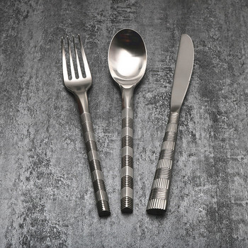 Stainless Steel Cutlery Set Noble Steak Knife and Fork Spoon Plate Set Full Set of Western Tableware Three Sets Thick Party F6K
