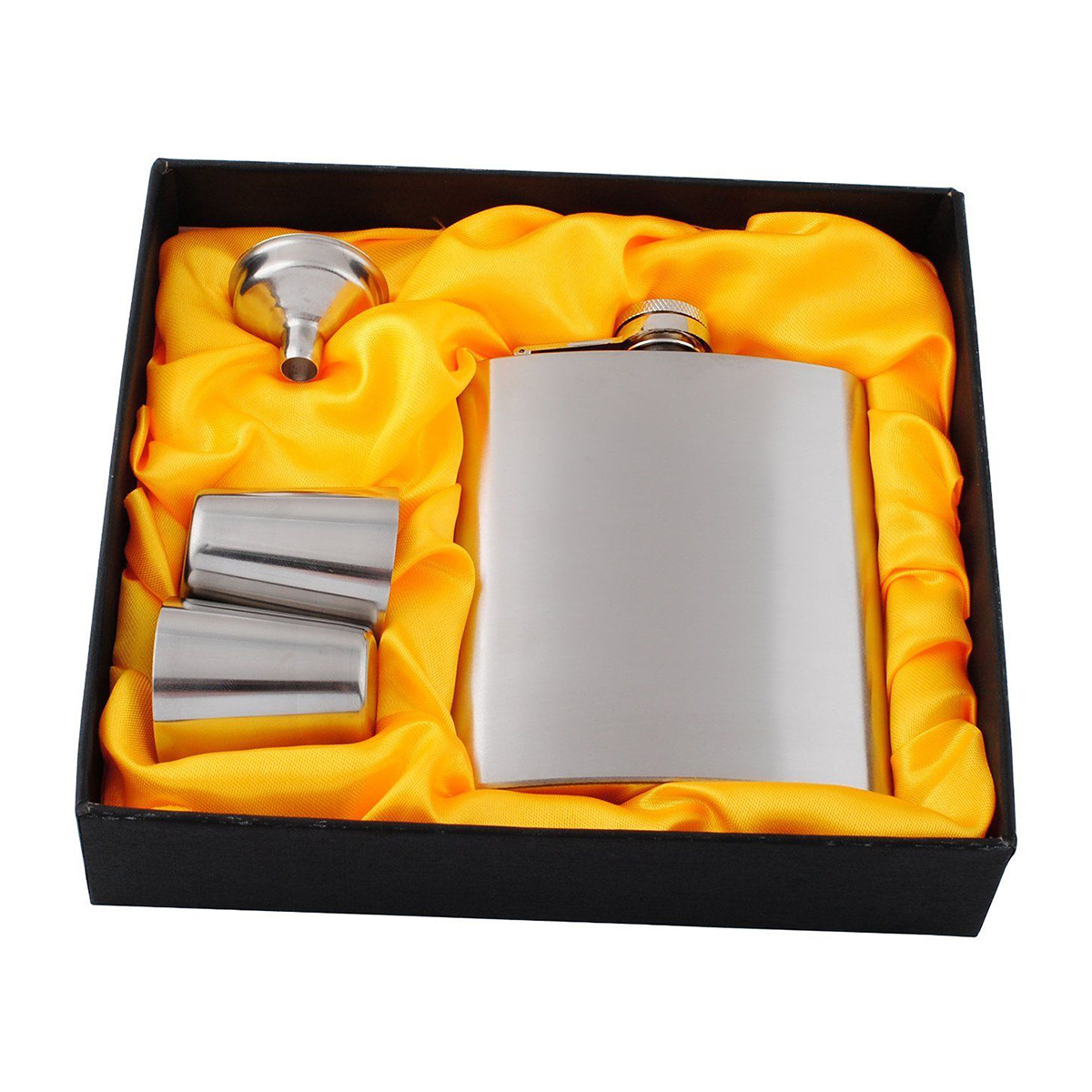 120*95*22mm Stainless Steel 7oz Hip Flask with Funnel Drinking Cups for whisky vodka