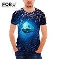FORUDESIGNS Sea World Shark Печати футболка для Мужчин Бодибилдинг и Фитнес-мужская 3D футболка Повседневная Футболки Мужской Одежды топы