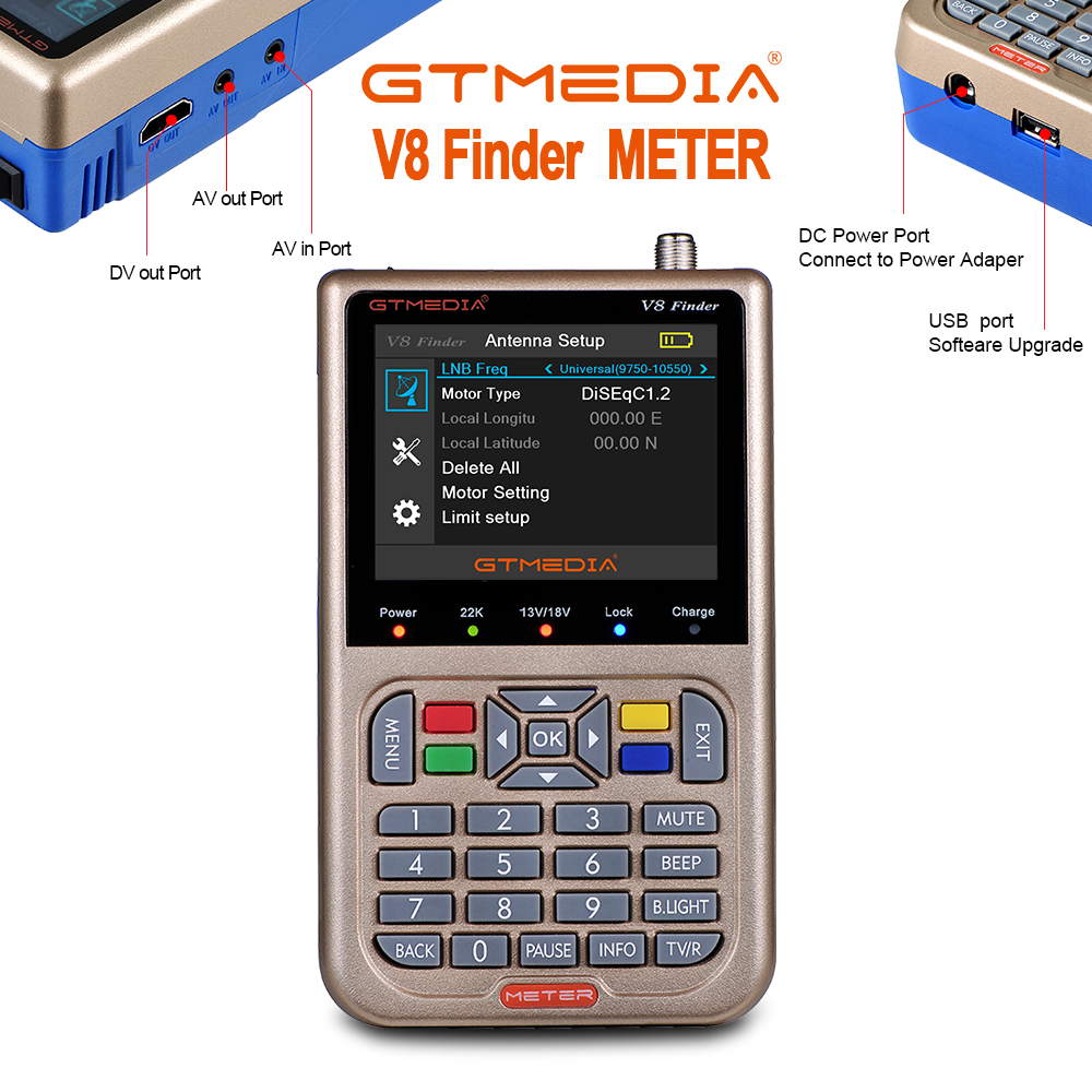 GTmedia V8 Satellite Finder Digital HD DVB-S2 High Definition Full 1080P Sat Finder DVB S2 Satellite Meter Satfinder 3.5 Inch