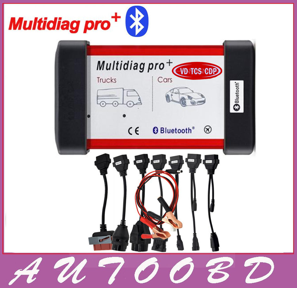 Universal Multidiag Pro+ Full 8 Car Cables VD TCS CDP PRO OBD2 Bluetooth Auto Scanner OBDII 2 Car Trucks Tester Diagnostic Tool 2016 latest obdii scanner cdp pro plus for delphi ds150e autocom car diagnostic tools scanner with set 8 cables for car