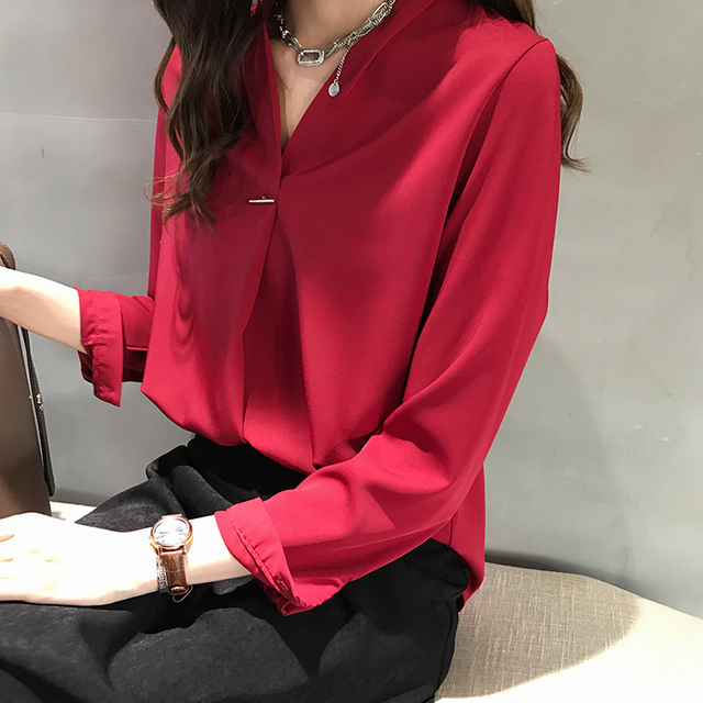 women chiffon blouse shirt long sleeve women shirts fashion womens tops and blouses 2019 3XL 4XL plus size women tops 1681 50 2