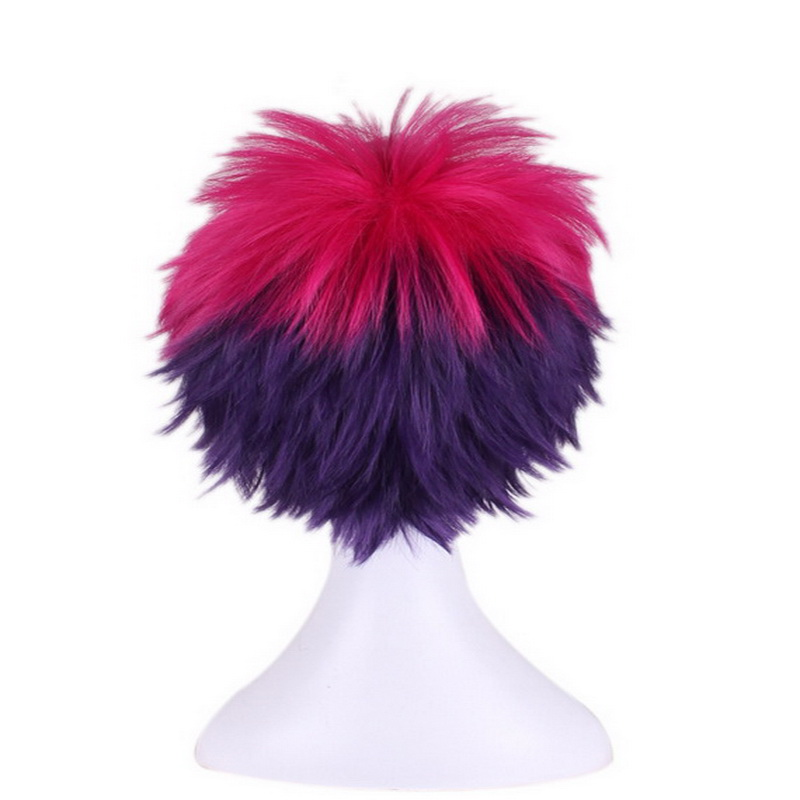 Anime Short Fluffy Layered Cosplay Costume Wig Red Purple Ombre Wigs For Women No Game No Life Sora Synthetic Hair Wig Cap in Anime Costumes from Novelty Special Use