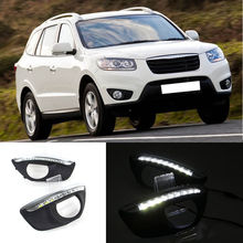12V LED Dimmming Style Relay Car DRL Daytime Running Lights Accessories with Fog Lamp Hole for Hyundai Santa Fe 2010 2011 2012 gloss style e4 12v led car drl daytime running lights fog lamp with turn off and dimming relay for ford focus 3 2012 2013 2014