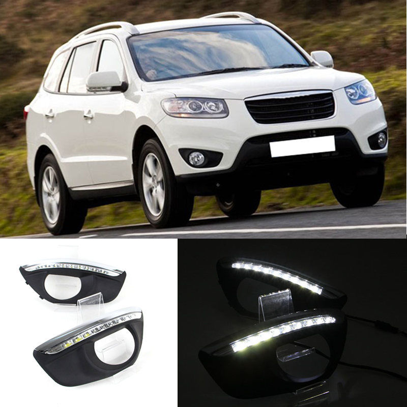 Car LED DRL Daytime Running Lights 12V Dimming style Relay and Waterproof With Fog Lamp Hole For Hyundai Santa Fe 2010 2011 2012 ecahayaku 1set 12v waterproof daytime running light drl fog lamp with fog hole for ford focus hatchback 2009 2010 2011 2012 2013