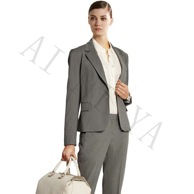 Jacket+Pants Women Business Suits Mid Gray Single Breasted Female ...
