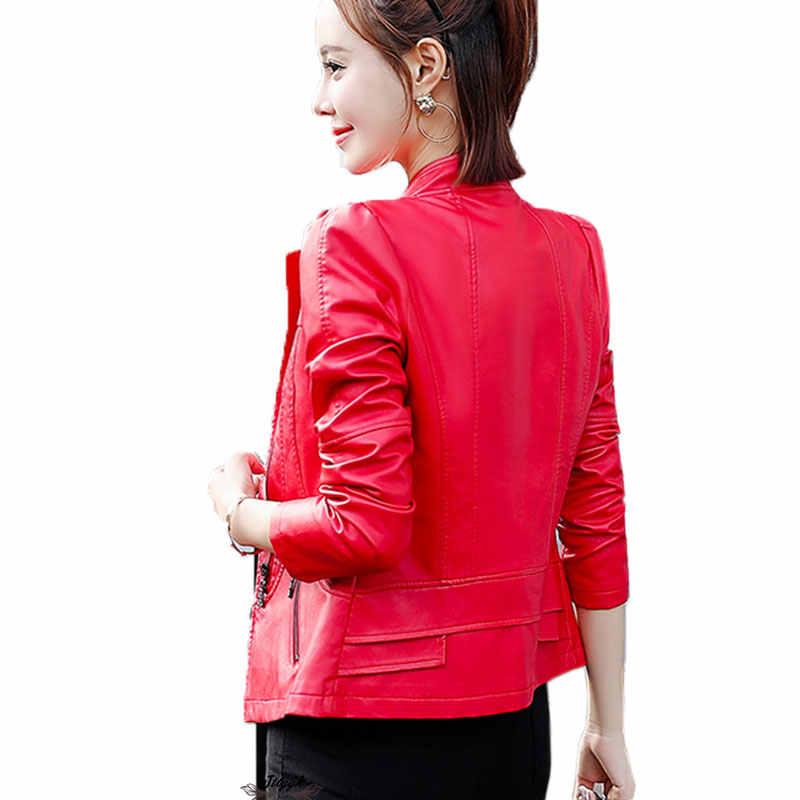 3eface64014 ... XS-6XL Plus Size Leather Jacket Women Spring Autumn 2018 Faux Leather  Coat Women Short ...