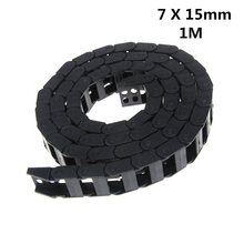 Фотография Free Shipping 7 x 15mm 7*15mm L1000mm Cable Drag Chain Wire Carrier with end connectors for CNC Router Machine Tools