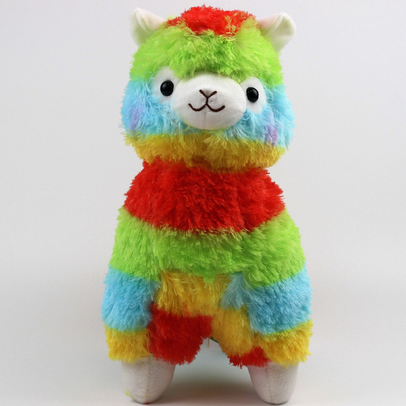 35cm Kawaii Alpaca Plush Rainbow Vicugna Plush Toys Japanese Alpacasso Soft Toys Doll Stuffed Animals Toy Kids Christmas Gift plus size pockets chunky knit long ope front slit cardigan