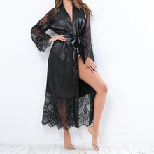 Sexy Women Nightgown Suit Lace Pajama Solid Nightdress V Neck Dress Lady H30