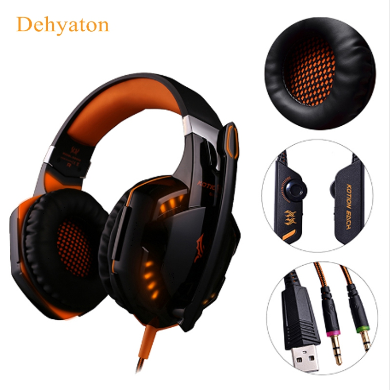 Dehyaton G2000 Gaming Headset head phone stereo Game headphone Computer Headsets with microphone LED light for Computer pc gamer each g8200 gaming headphone 7 1 surround usb vibration game headset headband earphone with mic led light for fone pc gamer ps4