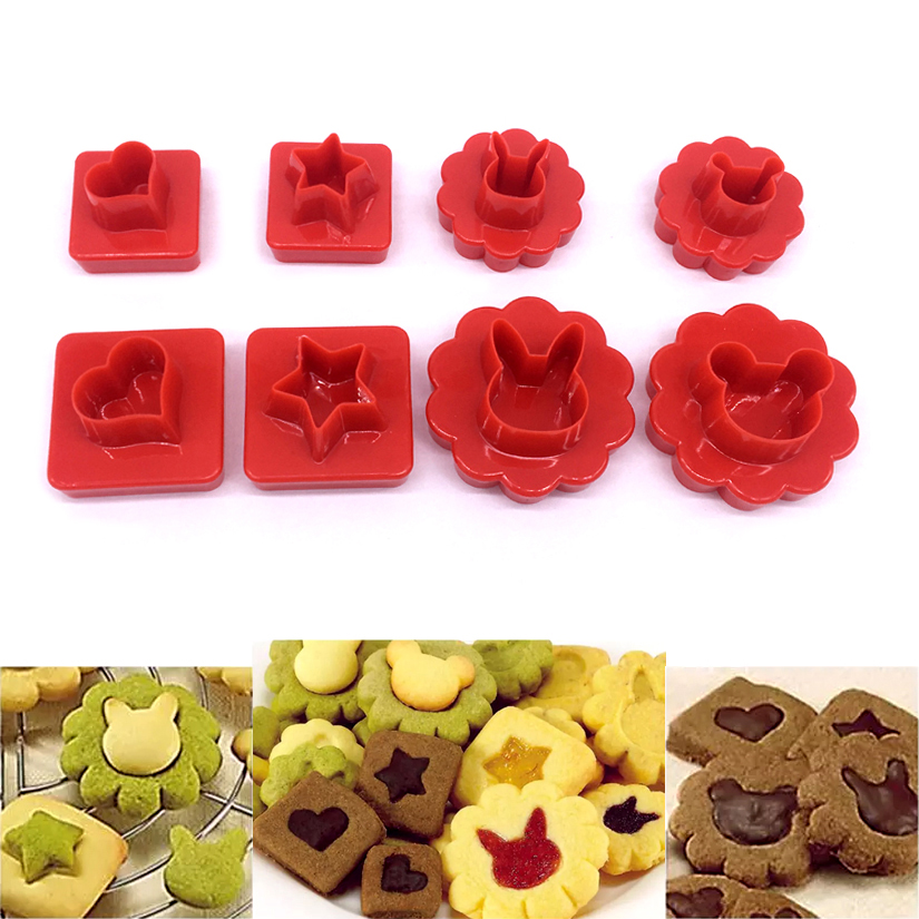 8 pcsset Mickey Rabbit Heart Star Biscuit Cookie Cutter Sugarcraft Mold Fondant Cake Decorating Tools Bakeware