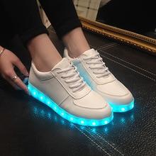 Alta qualidade eur tamanho 27 42 7 cores criança tênis luminoso brilhante carga usb meninos led sapatos meninas calçados led chinelos branco