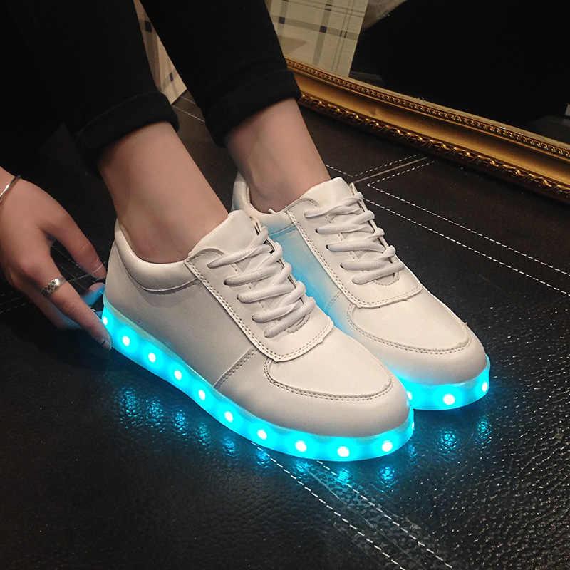 คุณภาพสูง Eur ขนาด 27-42 7 สีเด็กรองเท้าผ้าใบส่องสว่างเรืองแสง USB ชาร์จรองเท้าเด็ก LED หญิงรองเท้ารองเท้าแตะ LED สีขาว