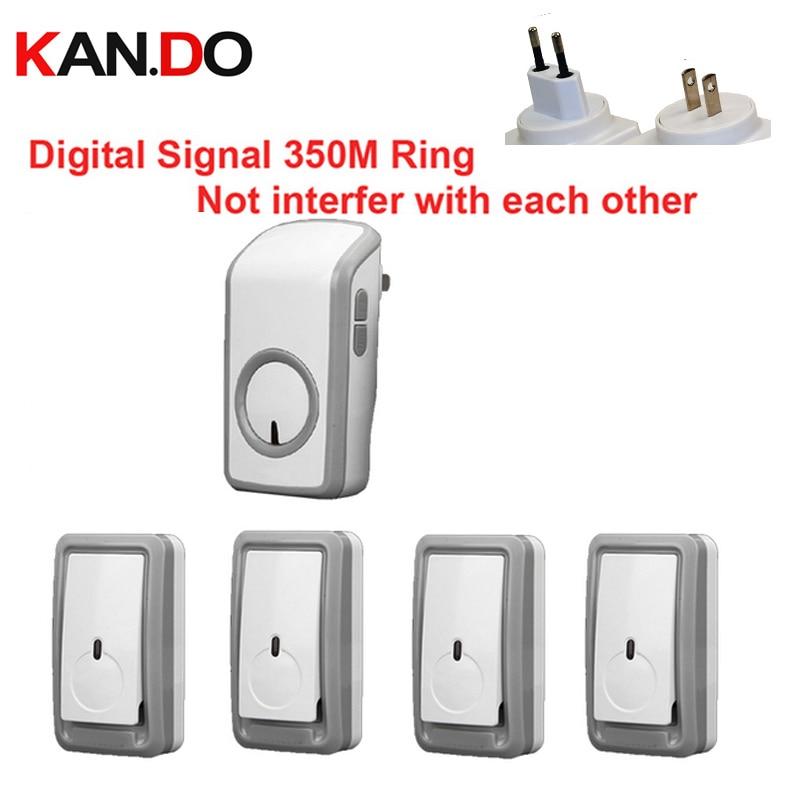 wireless bell kits w 4 emitters 1 receiver wireless doorbell waterproof 380 meter door chime. Black Bedroom Furniture Sets. Home Design Ideas