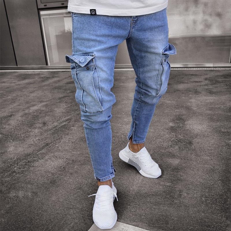 Men Fashion Hi Street Jeans Pants With Big Pockets Streetwear Stretch Denim Trousers For Man Ankle Zipper Size S-3XL