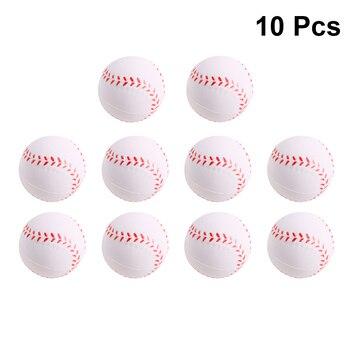 10 piezas de PU pelota de descompresión de ventilación esponja de espuma de juego de 6,3 cm béisbol alivio de estrés Toyfor Kids (blanco)