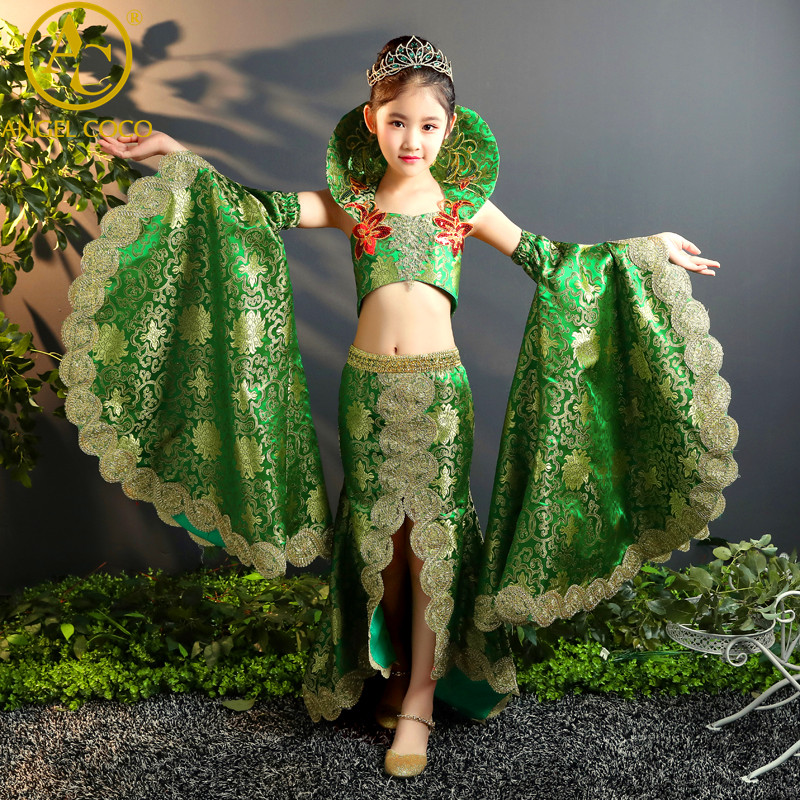 Can Be Customized Beauty Pageant Dress Summer Green Satin Exotic Carnival  Kid Mermaid Dresses For Girls Evening Party Gown 2018 вечернее платье mermaid dress vestido noiva 2015 w006 elie saab evening dress