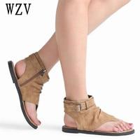 Hot Sale 2018 High Quality Suede Women Sandals Fashion Roman Summer Thong Women Flats Heel Sandals