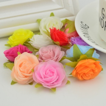 10pcs silk MINI rose heads for home wedding car decoration Skirt hat Beach flower diy handmade Candy gift box Artificial flowers 10pcs set wooden mini round photo frame hanging crafts diy handmade with ropes home decoration ornament